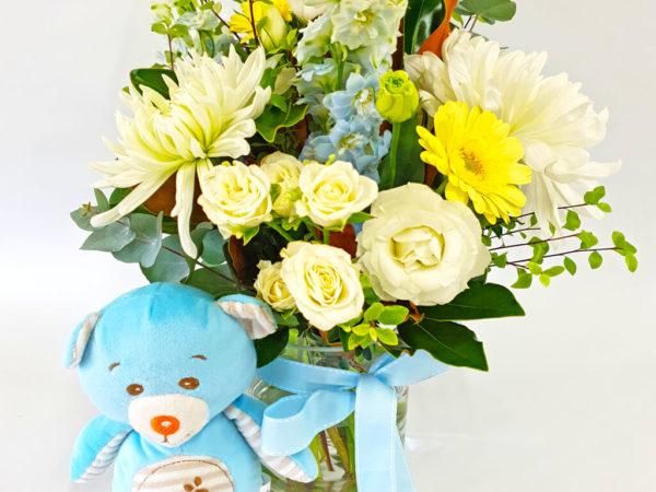Little man newborn baby flowers.