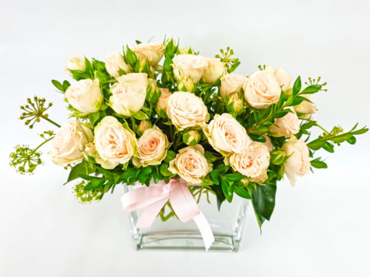 Spray Rose Flowers in a Glass Vase