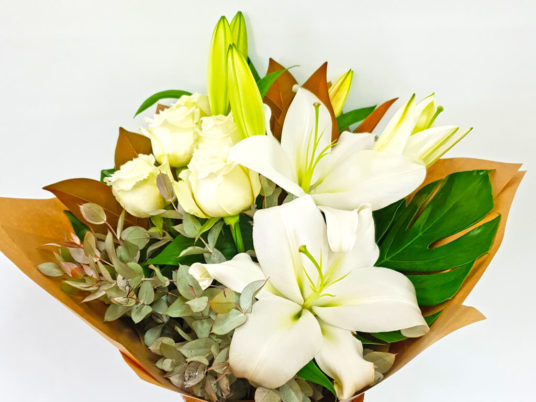 White on white flower bouquet